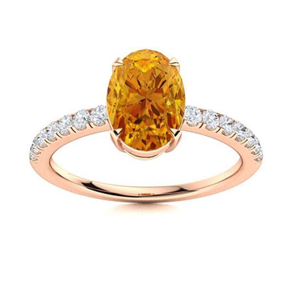 Natural 2.38 CTW Citrine & Diamond Engagement Ring 18K Rose Gold