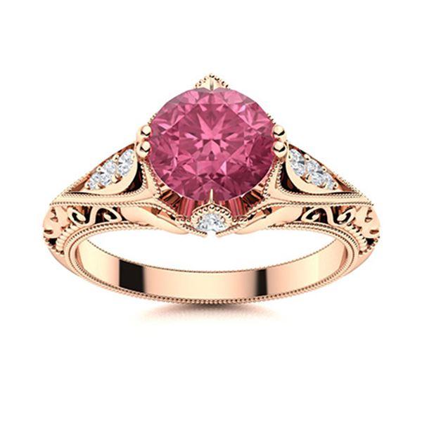 Natural 1.33 CTW Tourmaline & Diamond Engagement Ring 14K Rose Gold