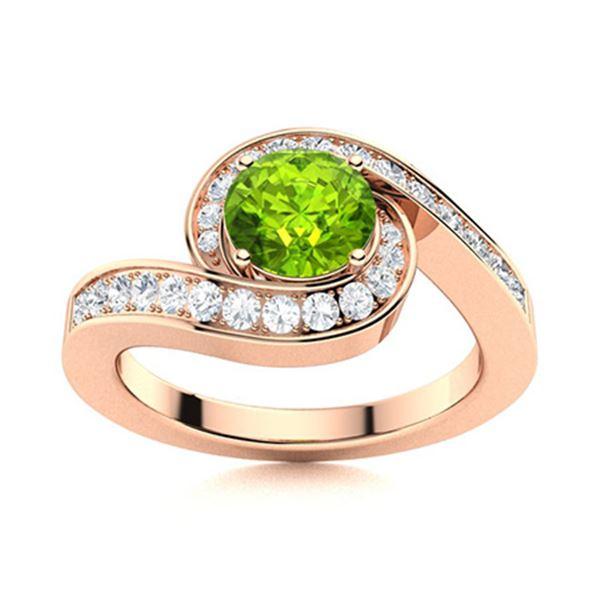 Natural 1.09 CTW Peridot & Diamond Engagement Ring 14K Rose Gold