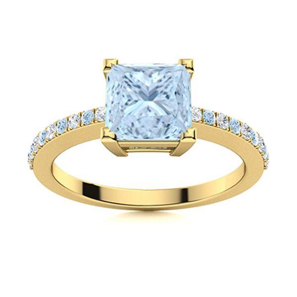 Natural 0.89 CTW Aquamarine & Diamond  Engagement Ring 14K Yellow Gold