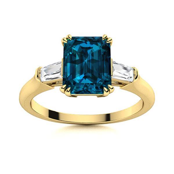 Natural 1.40 CTW Topaz & Diamond Engagement Ring 18K Yellow Gold