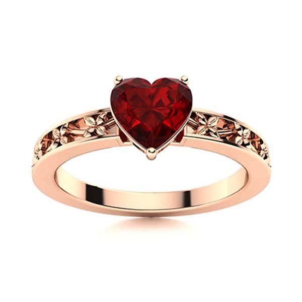Natural 0.58 CTW Garnet Solitaire Ring 18K Rose Gold