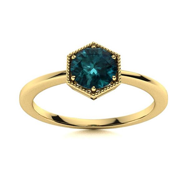 Natural 0.82 CTW Blue Diamond Solitaire Ring 18K Yellow Gold
