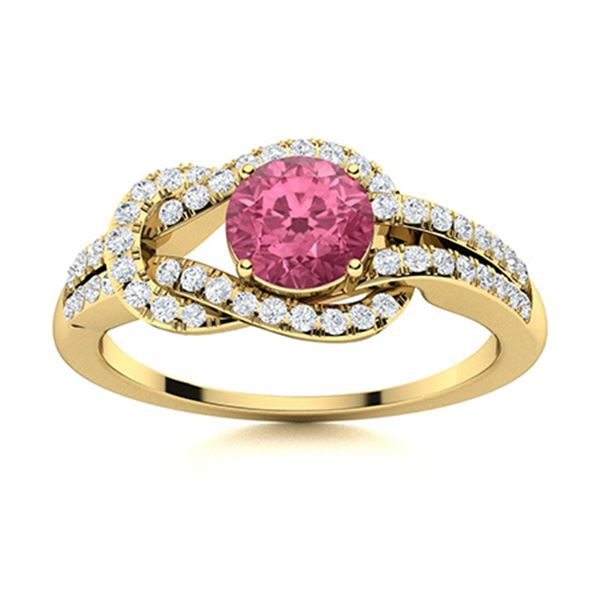 Natural 1.09 CTW Pink Sapphire & Diamond Engagement Ring 14K Yellow Gold
