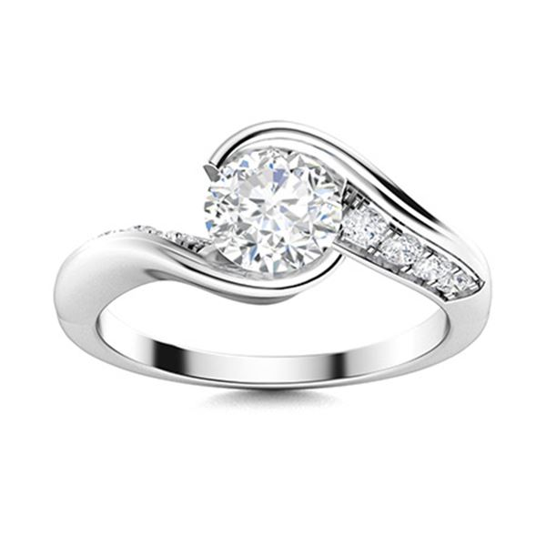 Natural 1.01 CTW Diamond Solitaire Ring 14K White Gold