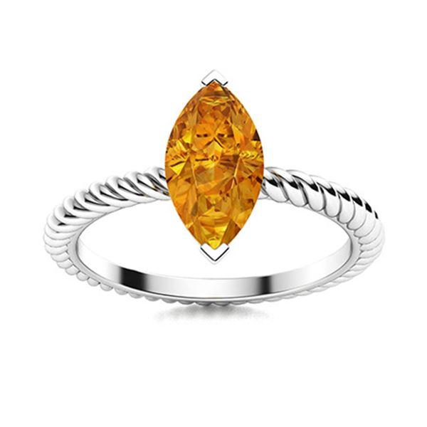 Natural 1.42 CTW Citrine Solitaire Ring 18K White Gold