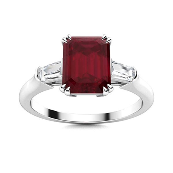 Natural 4.14 CTW Ruby & Diamond Engagement Ring 18K White Gold