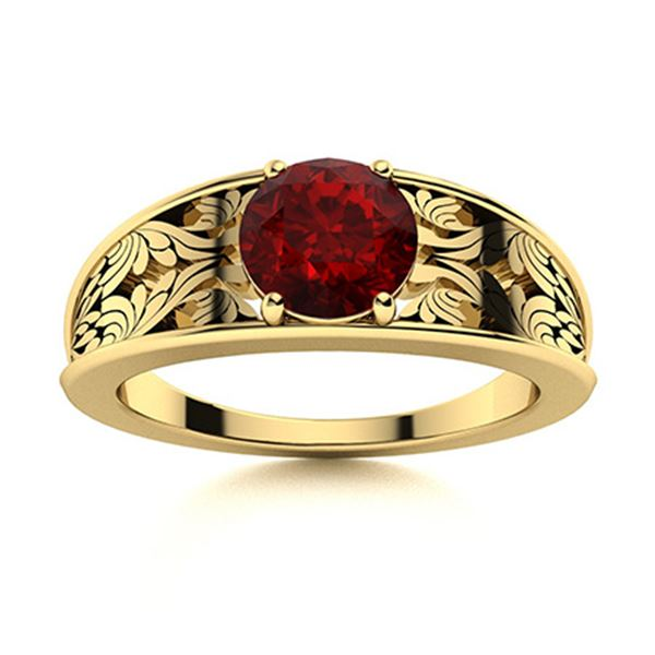 Natural 1.21 CTW Garnet Solitaire Ring 14K Yellow Gold