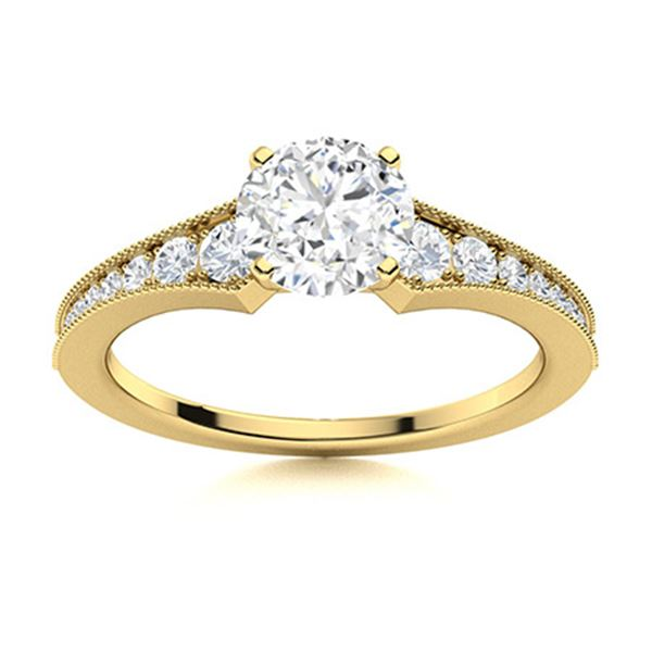 Natural 1.06 CTW Diamond Solitaire Ring 18K Yellow Gold