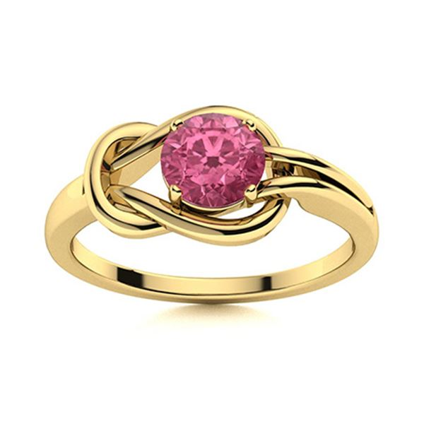Natural 0.81 CTW Pink Sapphire Solitaire Ring 14K Yellow Gold