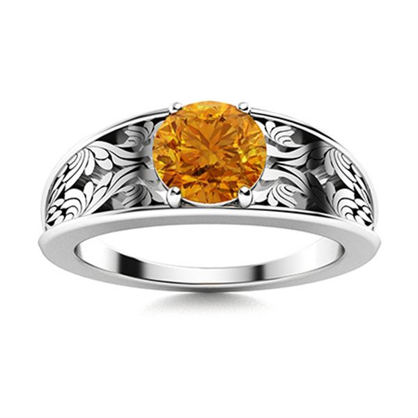 Natural 1.21 CTW Citrine Solitaire Ring 14K White Gold
