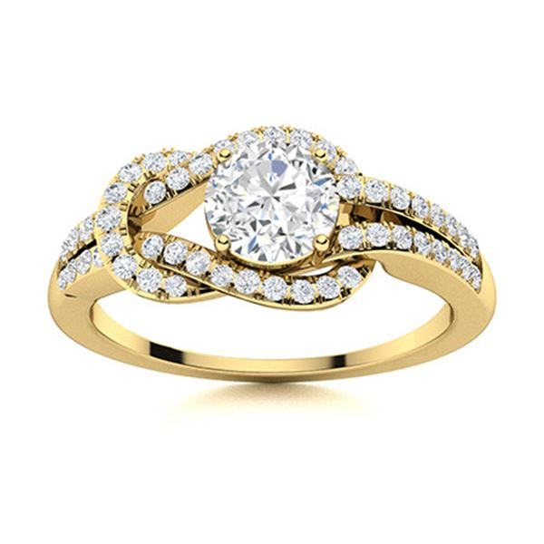 Natural 0.89 CTW Diamond Solitaire Ring 14K Yellow Gold