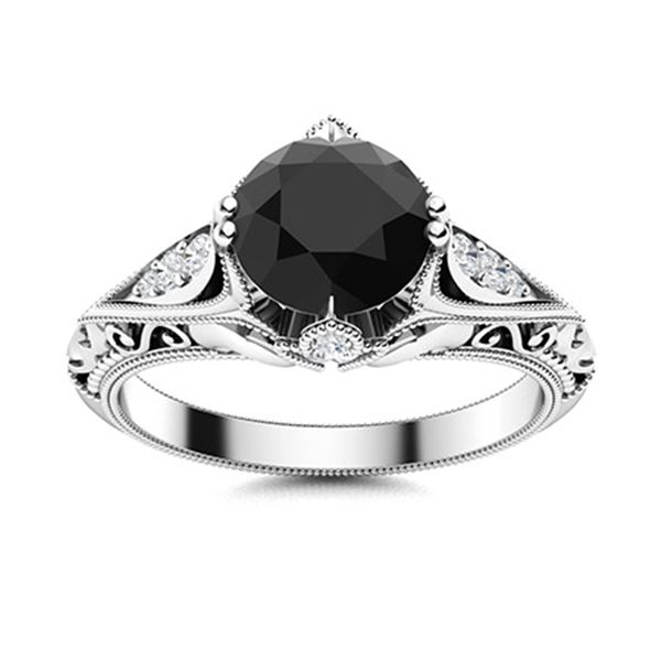 Natural 1.84 CTW Onyx & Diamond Engagement Ring 18K White Gold