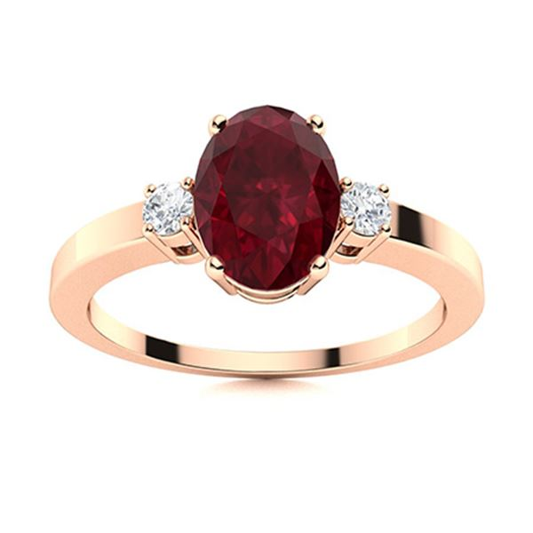 Natural 2.94 CTW Ruby & Diamond Engagement Ring 14K Rose Gold