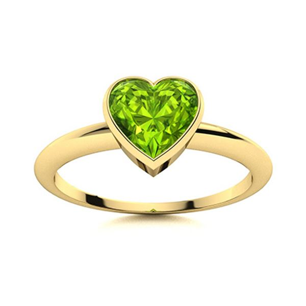 Natural 1.50 CTW Peridot Solitaire Ring 14K Yellow Gold