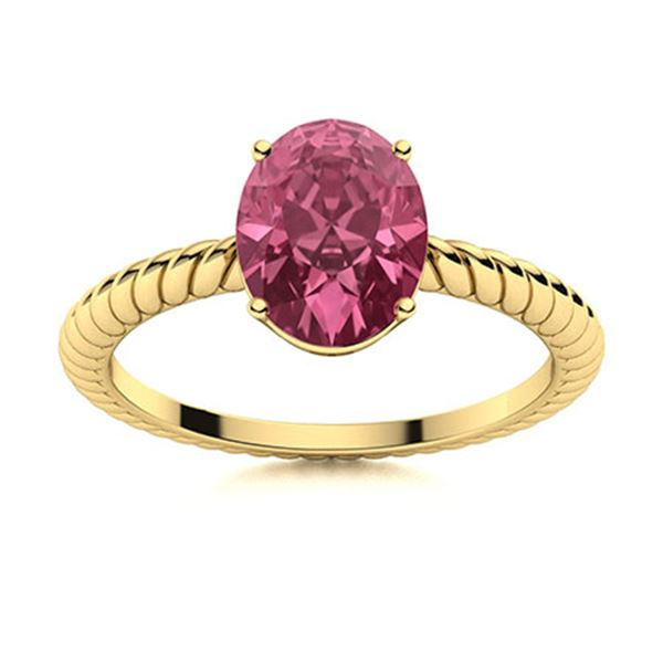 Natural 2.57 CTW Tourmaline Solitaire Ring 18K Yellow Gold