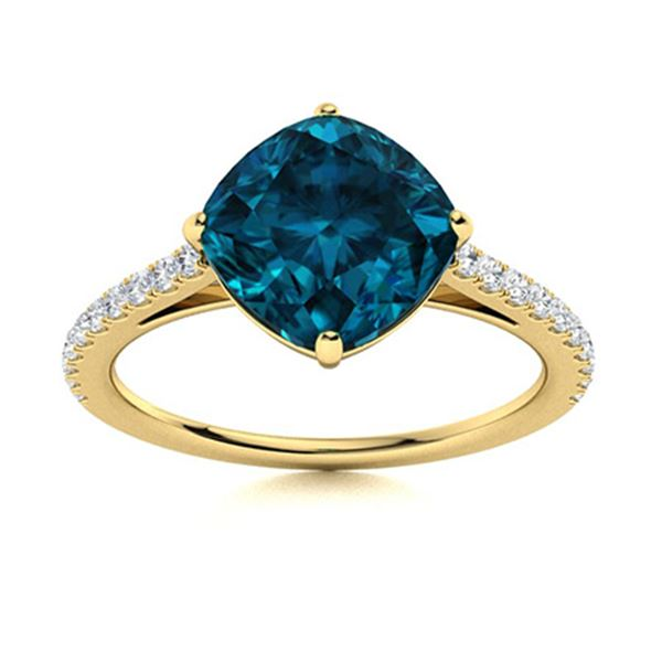 Natural 3.07 CTW Topaz & Diamond Engagement Ring 18K Yellow Gold