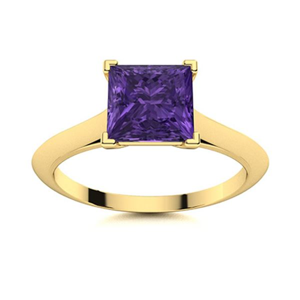 Natural 0.71 CTW Amethyst Solitaire Ring 14K Yellow Gold