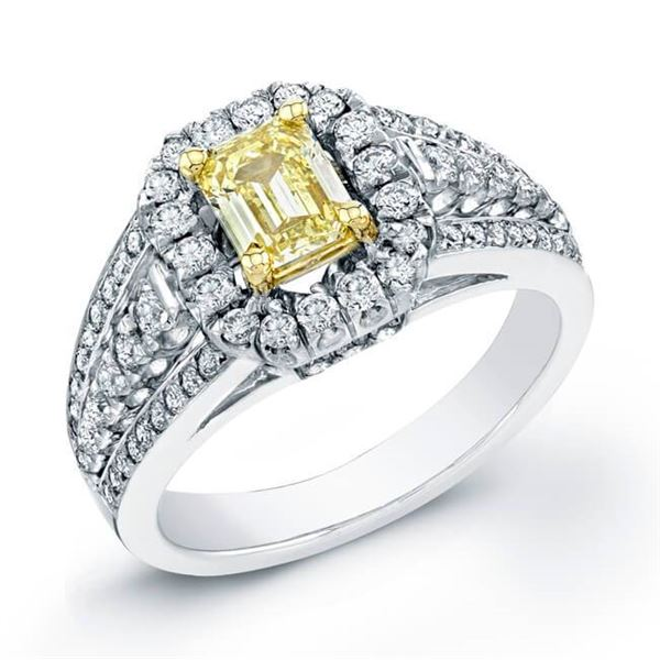 Natural 1.87 CTW Canary Light Yellow Emerald Cut Halo Diamond Ring 14KT Two-tone