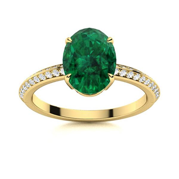 Natural 1.36 CTW Emerald & Diamond Engagement Ring 14K Yellow Gold