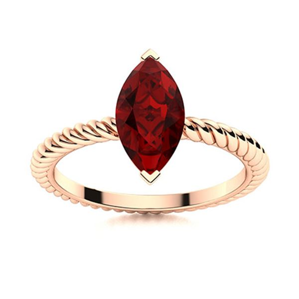 Natural 1.78 CTW Garnet Solitaire Ring 18K Rose Gold