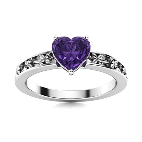 Natural 0.51 CTW Amethyst Solitaire Ring 14K White Gold