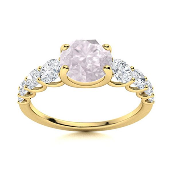 Natural 1.78 CTW Rose Quartz & Diamond Engagement Ring 18K Yellow Gold