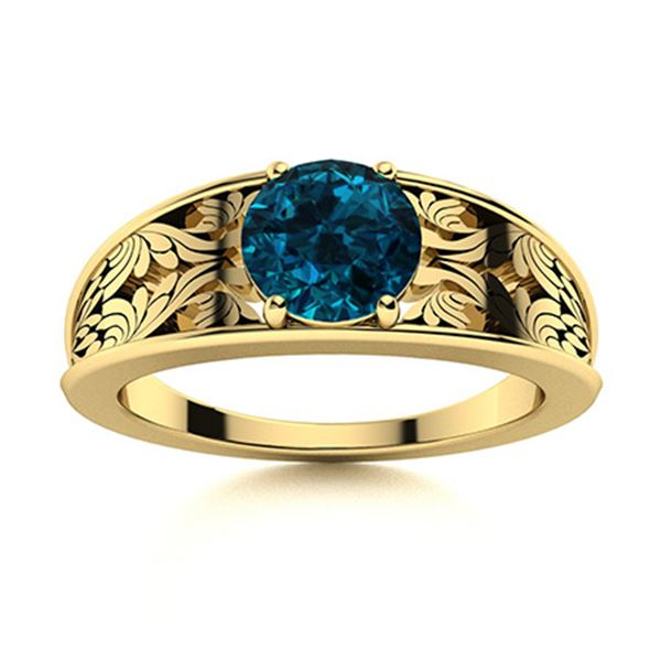 Natural 0.72 CTW Topaz Solitaire Ring 18K Yellow Gold