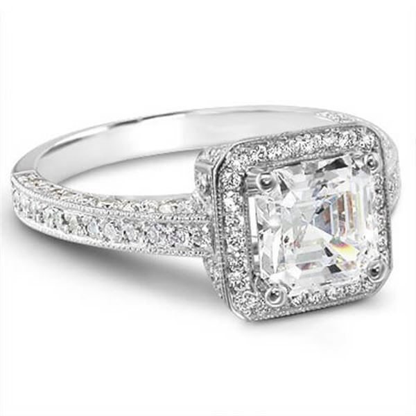 Natural 2.04 CTW Asscher & Round Cut Diamond Engagement Ring 14KT White Gold