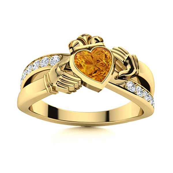 Natural 0.92 CTW Citrine & Diamond Engagement Ring 18K Yellow Gold