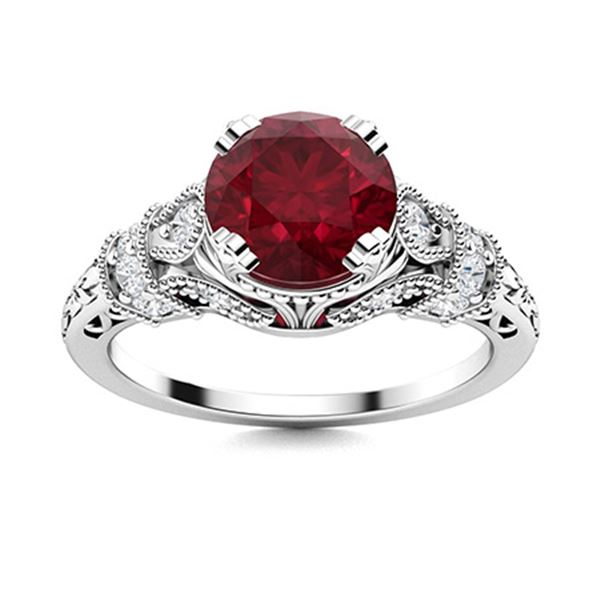 Natural 1.36 CTW Ruby & Diamond Engagement Ring 14K White Gold