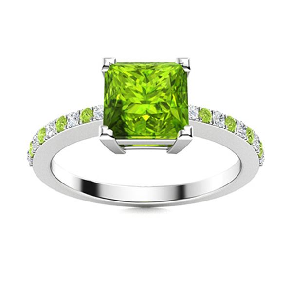 Natural 1.10 CTW Peridot & Diamond  Engagement Ring 18K White Gold