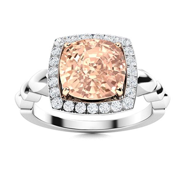 Natural 2.43 CTW Morganite & Diamond Engagement Ring 14K White Gold