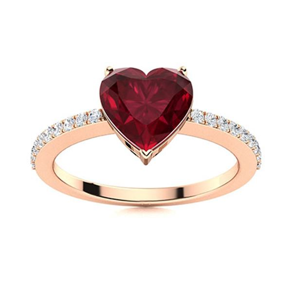 Natural 0.89 CTW Ruby & Diamond Engagement Ring 18K Rose Gold