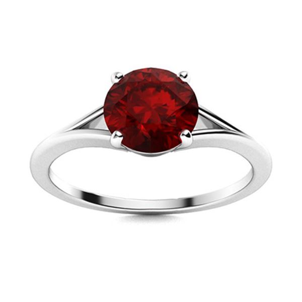 Natural 0.71 CTW Garnet Solitaire Ring 14K White Gold