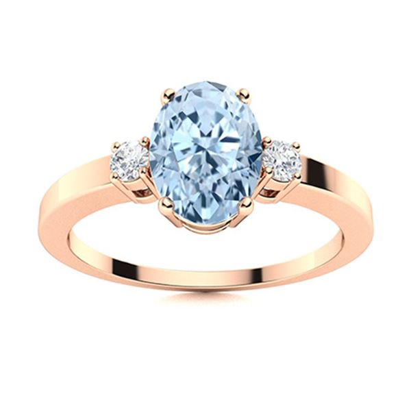 Natural 3.23 CTW Aquamarine & Diamond Engagement Ring 18K Rose Gold