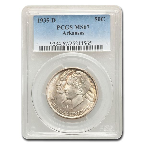 1935-D Arkansas Centennial Half Dollar Commem MS-67 PCGS