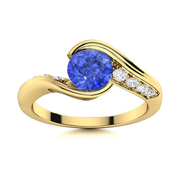 Natural 0.72 CTW Ceylon Sapphire & Diamond Engagement Ring 18K Yellow Gold
