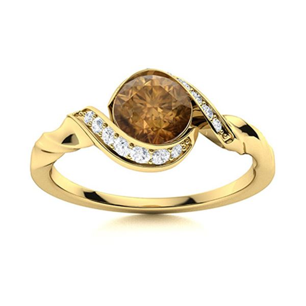 Natural 1.14 CTW Brown & White Diamond Engagement Ring 14K Yellow Gold