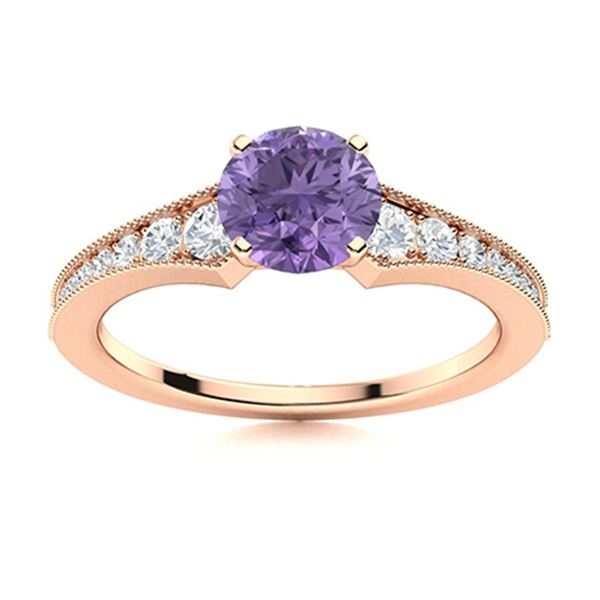 Natural 1.66 CTW Iolite & Diamond Engagement Ring 18K Rose Gold