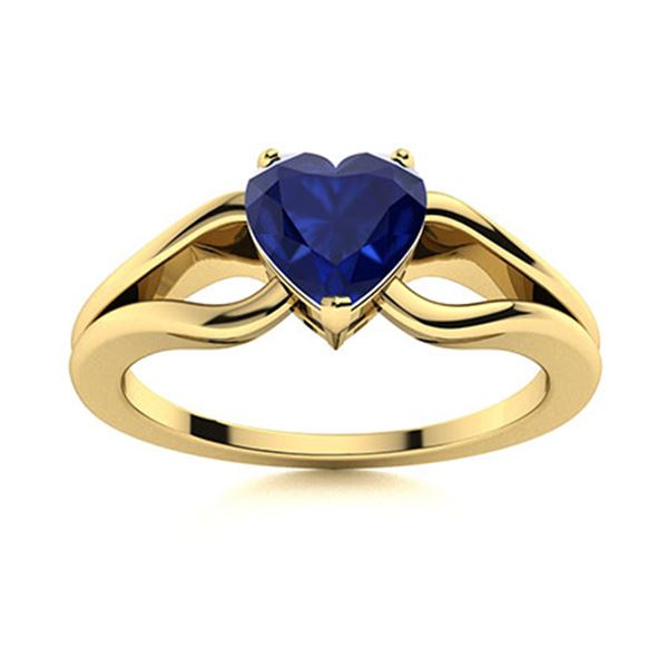 Natural 0.64 CTW Sapphire Solitaire Ring 18K Yellow Gold