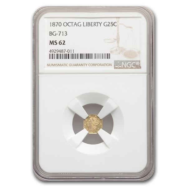 1870 Liberty Octagonal 25 Cent Gold MS-62 NGC (BG-713)