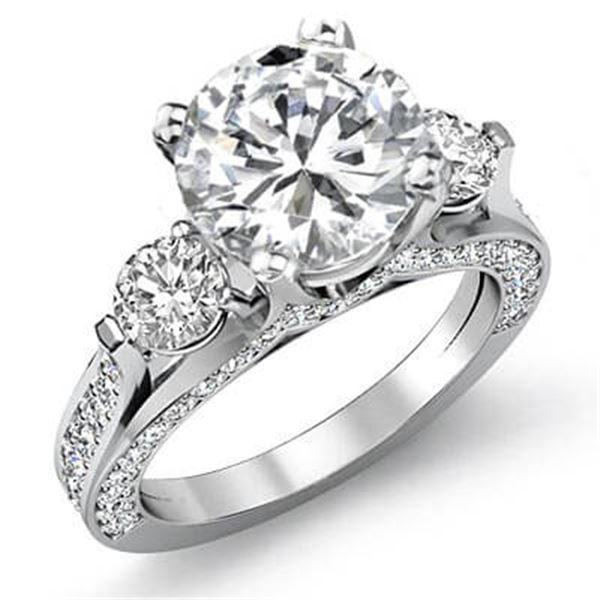 Natural 3.32 CTW Round Cut 3-Stone Diamond Engagement Ring 14KT White Gold