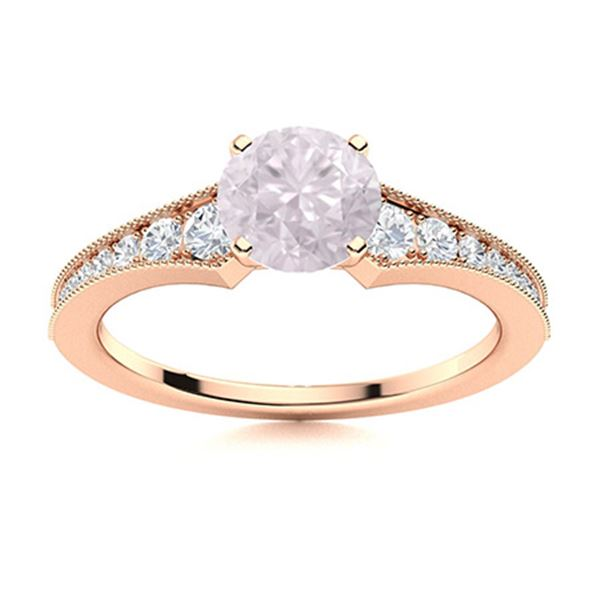 Natural 0.85 CTW Rose Quartz & Diamond Engagement Ring 14K Rose Gold