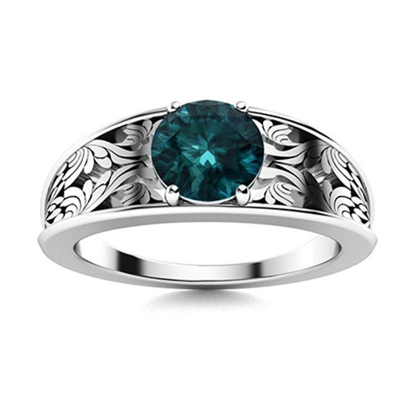 Natural 0.82 CTW Blue Diamond Solitaire Ring 18K White Gold