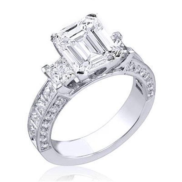 Natural 2.72 CTW Emerald Cut Diamond Ring 14KT White Gold