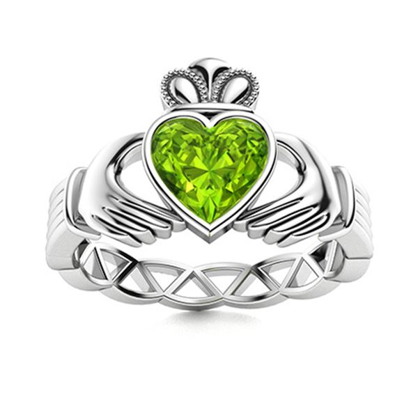 Natural 0.45 CTW Peridot Solitaire Ring 14K White Gold