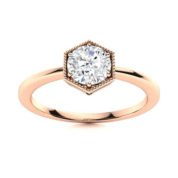 Natural 1.02 CTW Diamond Solitaire Ring 18K Rose Gold