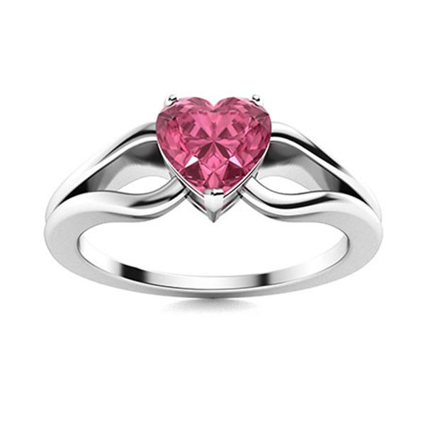 Natural 0.42 CTW Tourmaline Solitaire Ring 18K White Gold