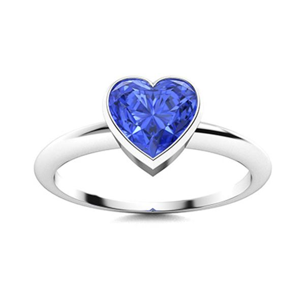 Natural 1.26 CTW Ceylon Sapphire Solitaire Ring 14K White Gold